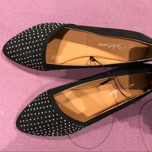 Shoes - Coco Black Studded Flats